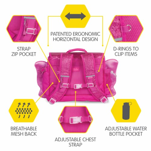 Bixbee Medium Sparkalicious Butterflyer Backpack - Ruby Perspective: left