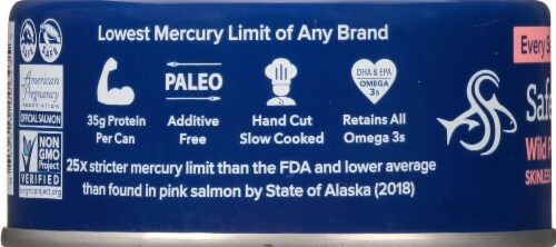 Safe Catch Pacific Wild No Salt Added Pink Salmon Perspective: left