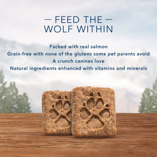 Blue Wilderness Trail Treats Salmon Recipe Grain-Free Biscuits Biscuits Dog Treats Perspective: left