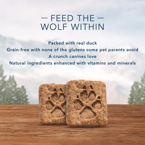 Blue Wilderness Trail Treats Duck Recipe Grain-Free Biscuit Dog Treats Perspective: left