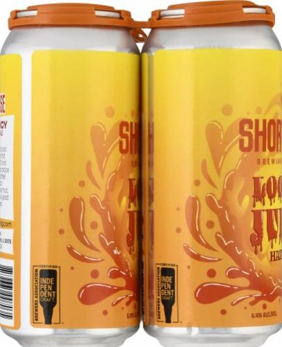 Short Fuse Brewing Company Loosey Juicy Hazy IPA Beer Perspective: left