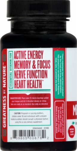 Zhou Methyl B-12 Natural Cherry Flavor Dietary Supplement Micro Lozenges Perspective: left