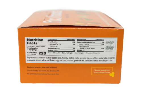 Muscle Food - 12 pack gluten free, all-natural nutrition bar, granola bar, fx foods Perspective: left