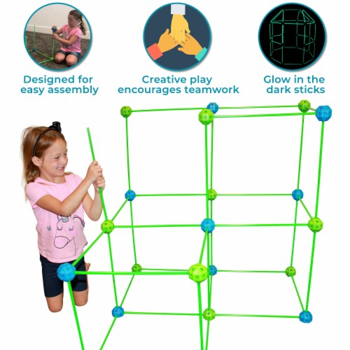 Funphix Glow in the Dark Fort Building Kit - Blue/Green Perspective: left