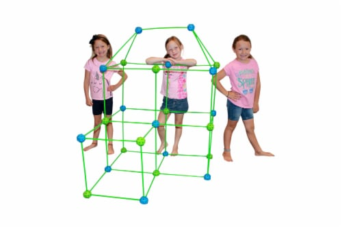 Funphix Glow in the Dark Fort Building Kit with Sheet - Blue/Green Perspective: left