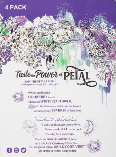 Petal Elderberry White Tea Flower Sparkling Water Perspective: left