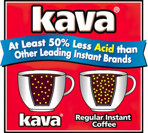 Kava Decaf Reduced Low-Acid Instant Coffee, 4 Ounce Glass Jar Perspective: left