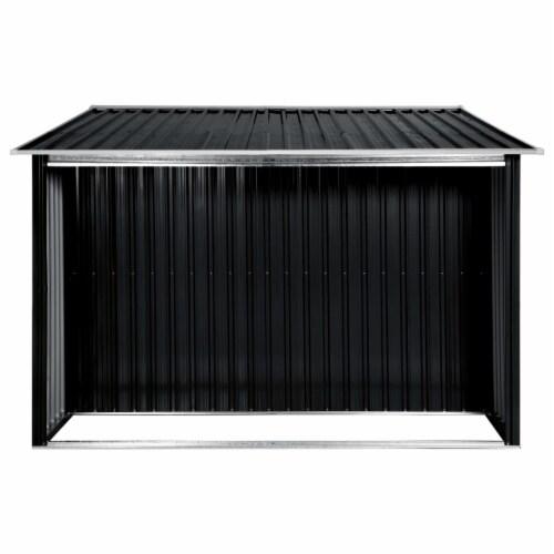 """vidaXL Garden Shed with Sliding Doors Anthracite 129.7""""x80.7""""x70.1"""" Steel Perspective: left"""
