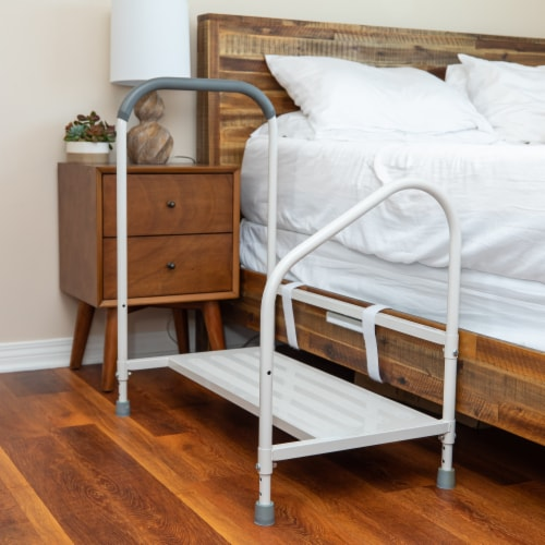 Step2bed XL Bed Rails for Elderly w/ Adjustable Height Bed Step Stool Perspective: left