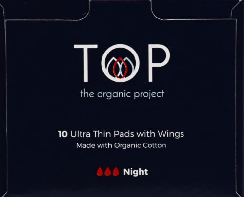 TOP Super Absorbency Organic Cotton Ultra Thin Period Pads with Wings Perspective: left
