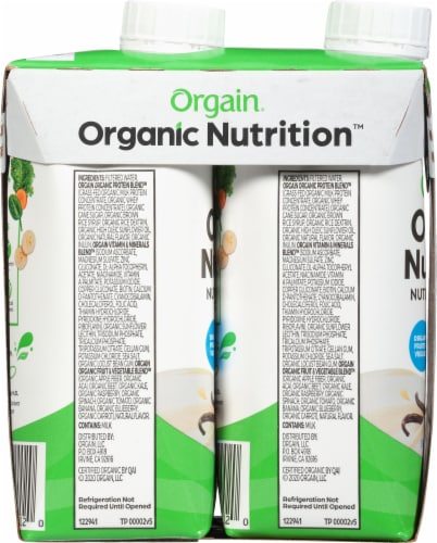 Orgain Organic Nutrition Sweet Vanilla Bean Flavor Nutritional Shakes Perspective: left