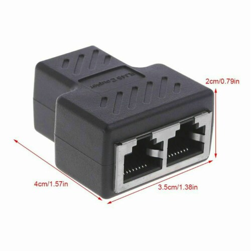 RJ45 Splitter Adapter 1 to 2 Ways Dual Female Port CAT5/6/7 LAN Ethernet Cable Perspective: left