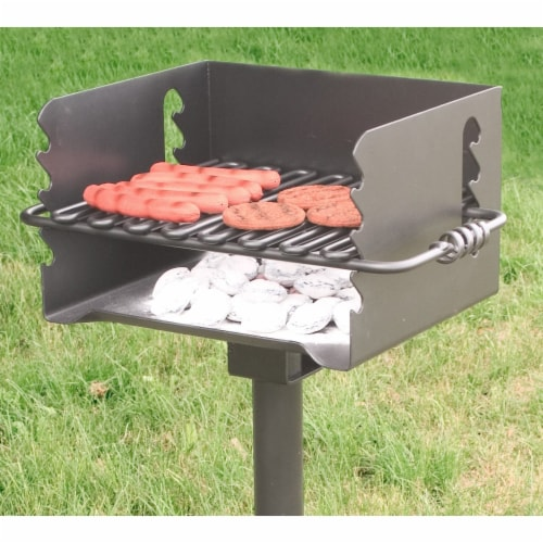 Pilot Rock CBP 135 Park Style Steel Outdoor BBQ Charcoal Grill and Post, Black Perspective: left