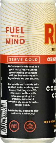 Rise Brewing Co Original Black Nitro Cold Brew Coffee Perspective: left
