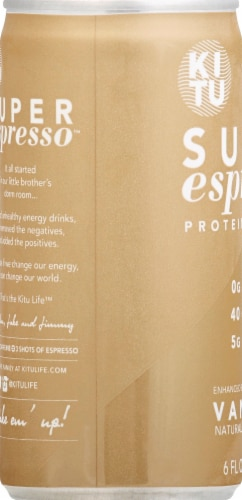 Super Espresso Vanilla Enhanced Espresso Beverage Perspective: left