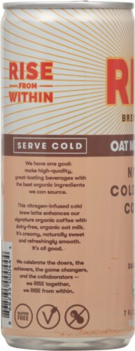 Rise Nitro Brewing Co. Dairy Free Oat Milk Latte Nitro Cold Brew Coffee Perspective: left