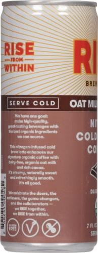 Rise Nitro Brewing Co Oat Milk Mocha Nitro Cold Brew Coffee Perspective: left