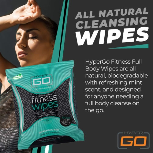 HyperGo Full Body Fitness Wipes, Refreshing Mint Scent, (10 Individually Wrapped Wipes) Perspective: left
