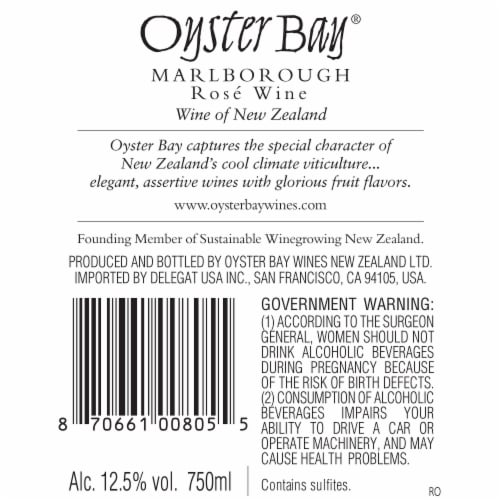 Oyster Bay Malborough Rose Wine Perspective: left