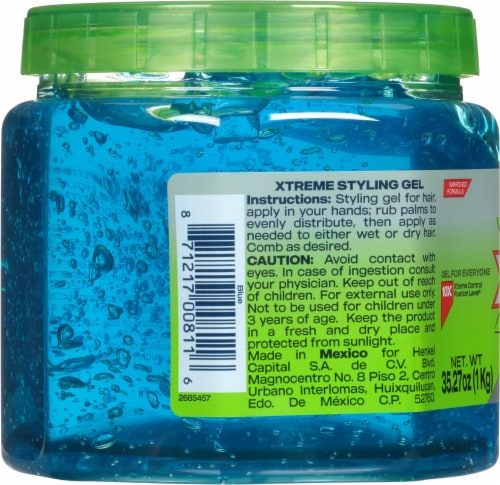 Wet Line Xtreme Blue Extra Firm Hold 24 Hour Styling Gel Perspective: left