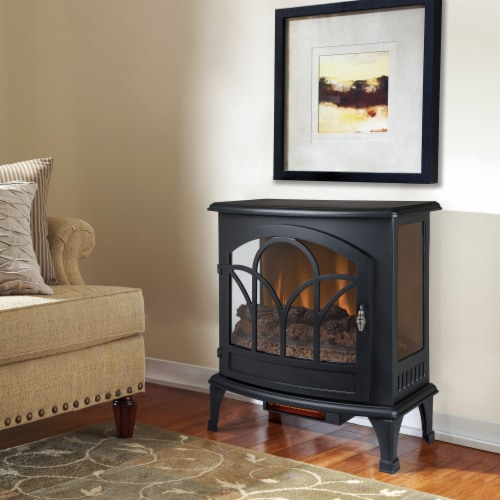 Pleasant Hearth Curved Front Infrared Panoramic Electric Stove - Black Perspective: left