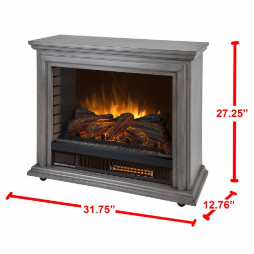 Pleasant Hearth Sheridan Mobile Infared Fireplace - Dark Weathered Gray Perspective: left