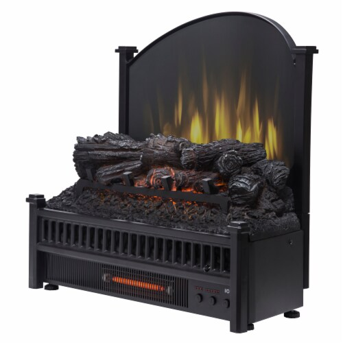 Pleasant Hearth Electric Log Insert with Removable Fireback and Heater Perspective: left