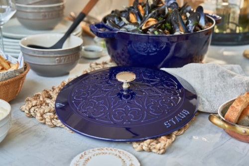 Staub Cast Iron 3.75-qt Essential French Oven with Lilly Lid - Dark Blue Perspective: left