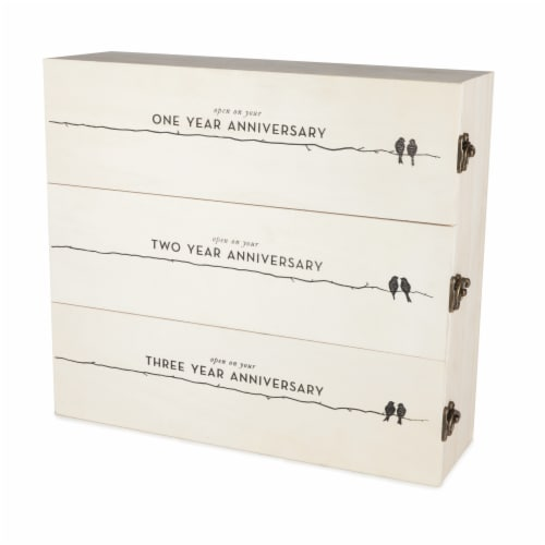 Newlywed's Anniversary Wooden Wine Box by Twine® Perspective: left