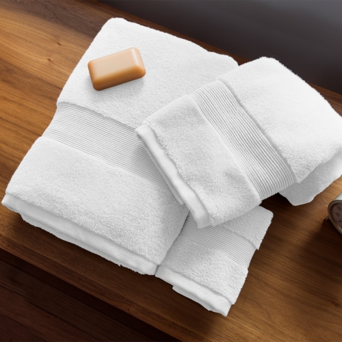 Miracle Cotton and Silver Ion Antimicrobial Plush Bathroom Hand Towel, White Perspective: left