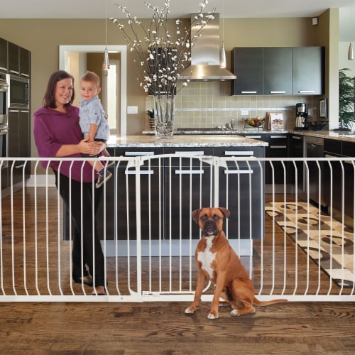 Bindaboo B1121 Zoe 28 to 32IN Extra Tall Auto-Close Baby Pet Safety Gate, White Perspective: left