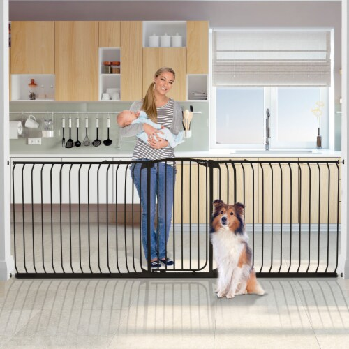 Bindaboo B1124 Zoe 38 to 42.5IN Extra Tall Wide Auto-Close Baby Pet Gate, Black Perspective: left