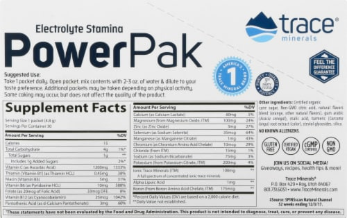 Trace Minerals Electrolyte Stamina Power Pak Orange Blast Dietary Supplement Packets Perspective: left