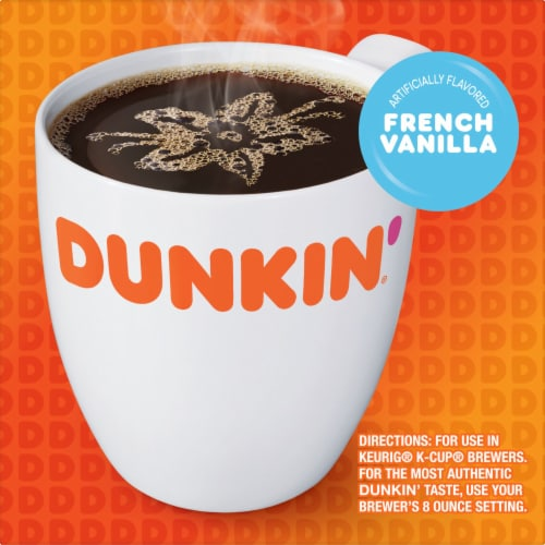 Dunkin' Donuts French Vanilla Flavored Coffee K-Cup Pods Perspective: left