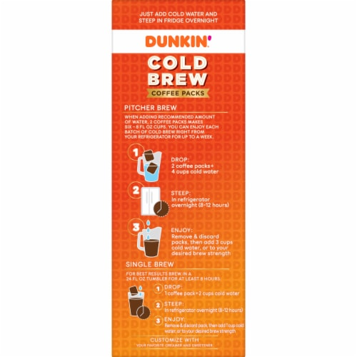 Dunkin' Donuts Cold Brew Coffee Packs Perspective: left