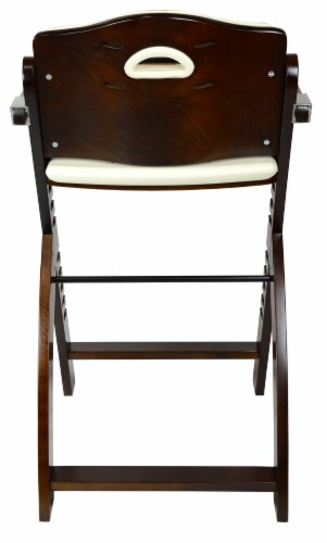 Abiie Beyond Wooden High Chair with Tray. (Mahogany Wood - Cream Cushion) Perspective: left
