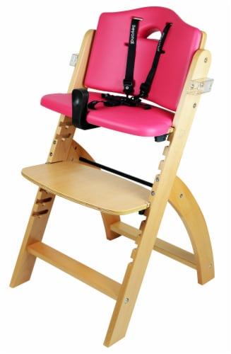 Abiie Beyond Wooden High Chair with Tray. (Natural Wood - Red Cushion) Perspective: left