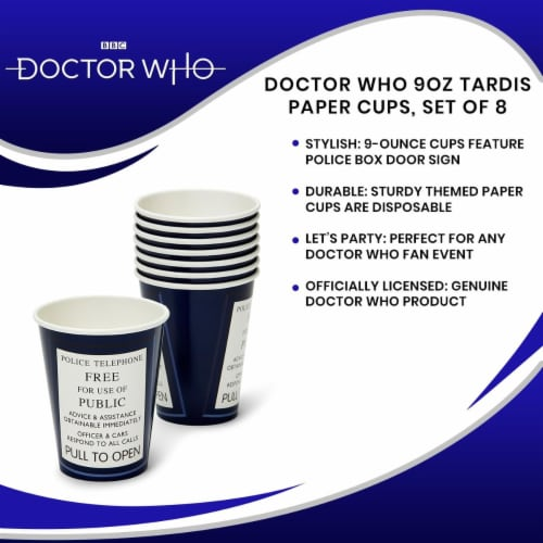 Doctor Who 9oz TARDIS Paper Cups, Set of 8 Perspective: left