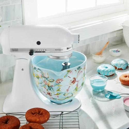 KitchenAid 5 Quart White Gardenia Ceramic Mixing Bowl for Kitchen Stand Mixer Perspective: left