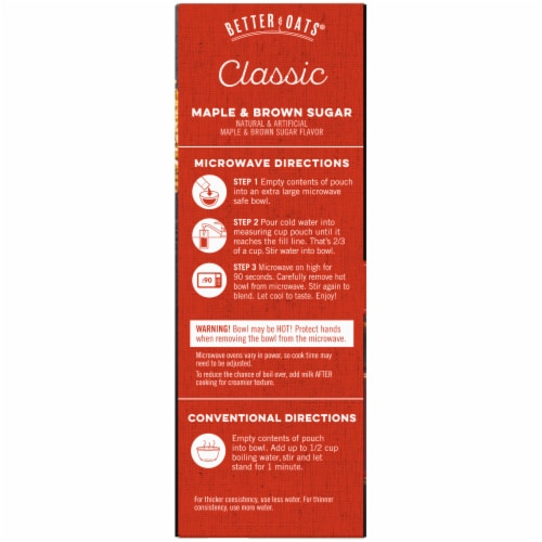 Better Oats Classic Maple & Brown Sugar Instant Oatmeal 10 Count Perspective: left