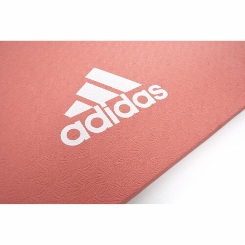Adidas Universal Exercise Slip Resistant Fitness Yoga Mat, 8mm Thick, Glow Pink Perspective: left