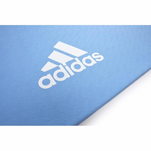 Adidas Universal Exercise Slip Resistant Fitness Yoga Mat, 8mm Thick, Glow Blue Perspective: left
