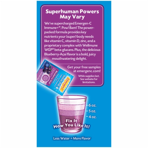 Emergen-C Immune Plus Blueberry-Acai Flavored Fizzy Drink Mix Packets Perspective: left