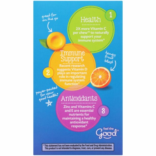 Emergen-C Immune+ Orange Blast Chewables 15mcg 42 Count Perspective: left