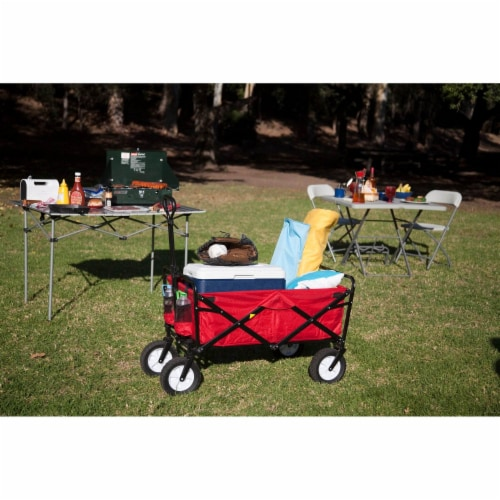 Mac Sports Collapsible Folding Outdoor Utility Wagon - Red Perspective: left