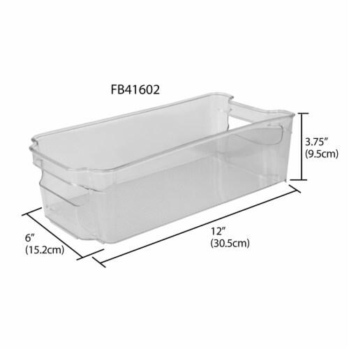 Stackable Medium Plastic Fridge Pantry and Closet Organization Bin with Handles Perspective: left
