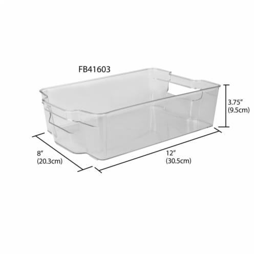 Stackable Large Plastic Fridge Pantry and Closet Organization Bin with Handles Perspective: left