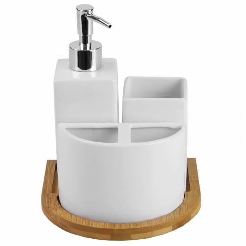 Serene Scandinavian 4 Piece Ceramic Bath Accessory Set with Bamboo Tray, White Perspective: left