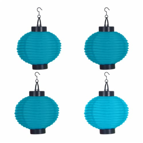 Pure Garden Outdoor Solar Chinese Lanterns - LED - Set of 4 - Blue Perspective: left