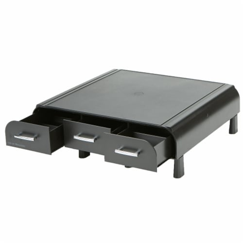 Mind Reader Adjustable Height Monitor Stand with Storage Drawers - Black Perspective: left